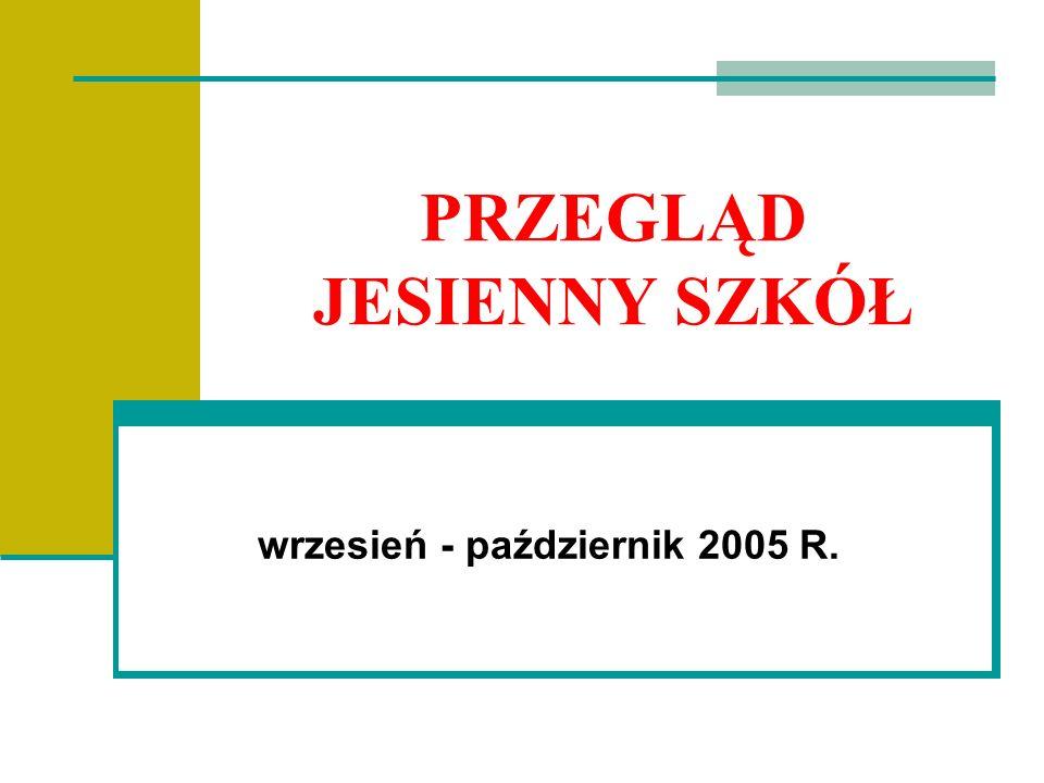 PRZEGLĄD JESIENNY SZKÓŁ wrzesień - październik 2005 R.
