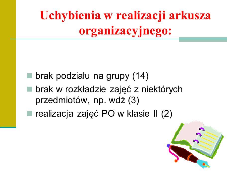 Uchybienia w realizacji arkusza organizacyjnego: brak podziału na grupy (14) brak w rozkładzie zajęć z niektórych przedmiotów, np.