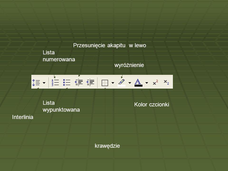 Interlinia Lista numerowana Lista wypunktowana Przesunięcie akapitu w lewo krawędzie Kolor czcionki wyróżnienie