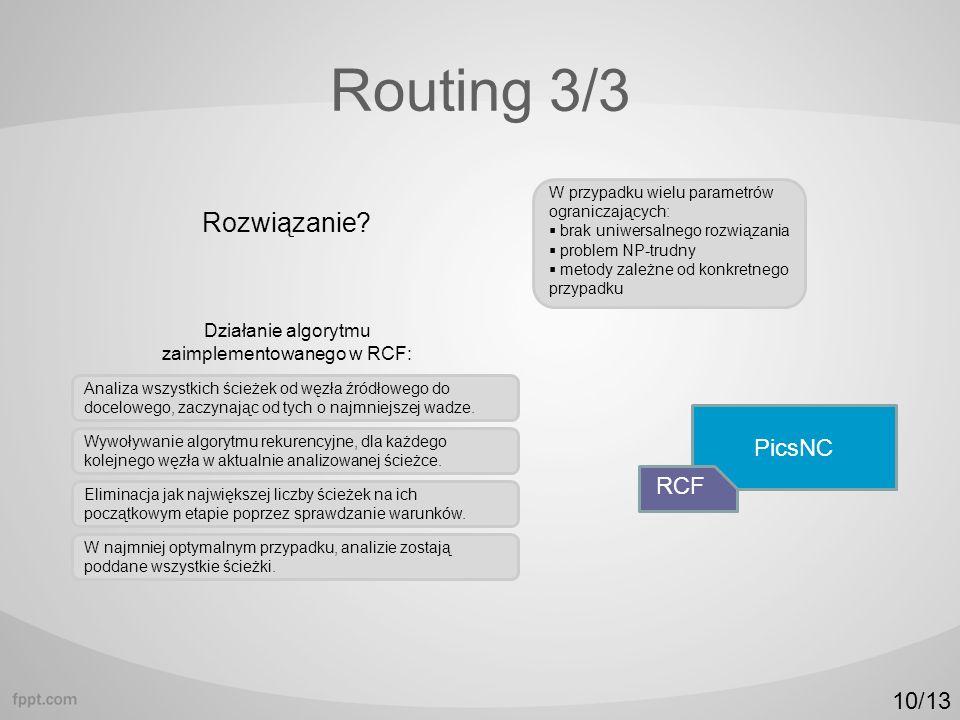 Routing 3/3 W przypadku wielu parametrów ograniczających: brak uniwersalnego rozwiązania problem NP-trudny metody zależne od konkretnego przypadku PicsNC RCF Analiza wszystkich ścieżek od węzła źródłowego do docelowego, zaczynając od tych o najmniejszej wadze.