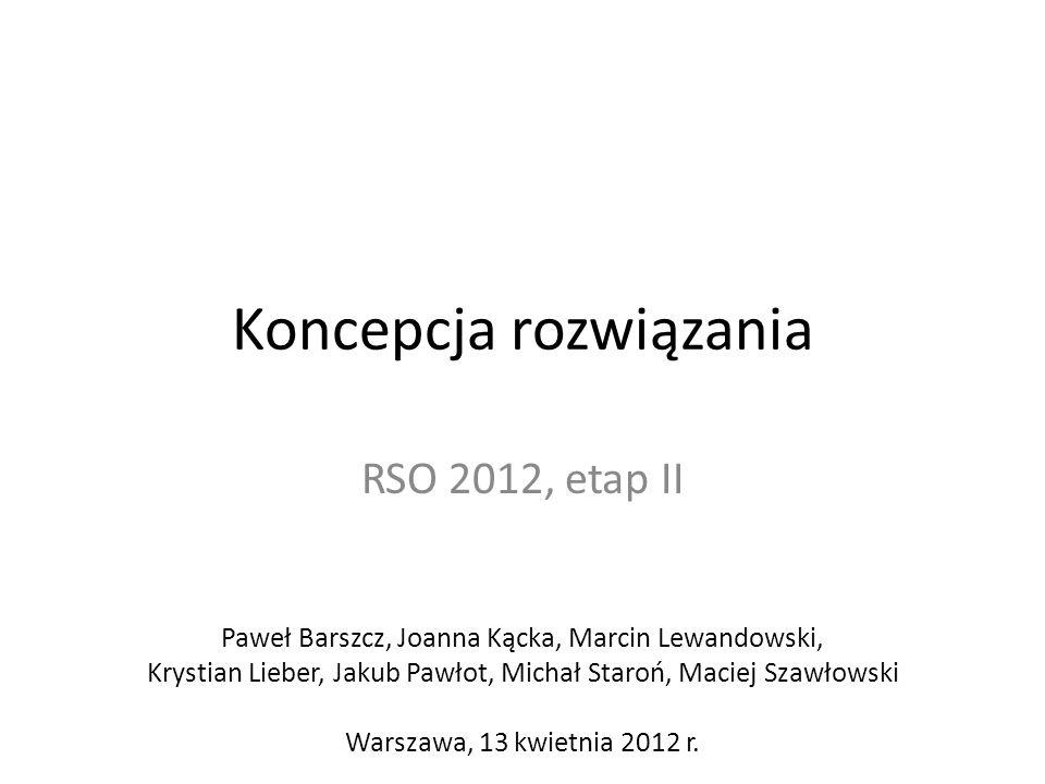 Koncepcja rozwiązania RSO 2012, etap II Paweł Barszcz, Joanna Kącka, Marcin Lewandowski, Krystian Lieber, Jakub Pawłot, Michał Staroń, Maciej Szawłows
