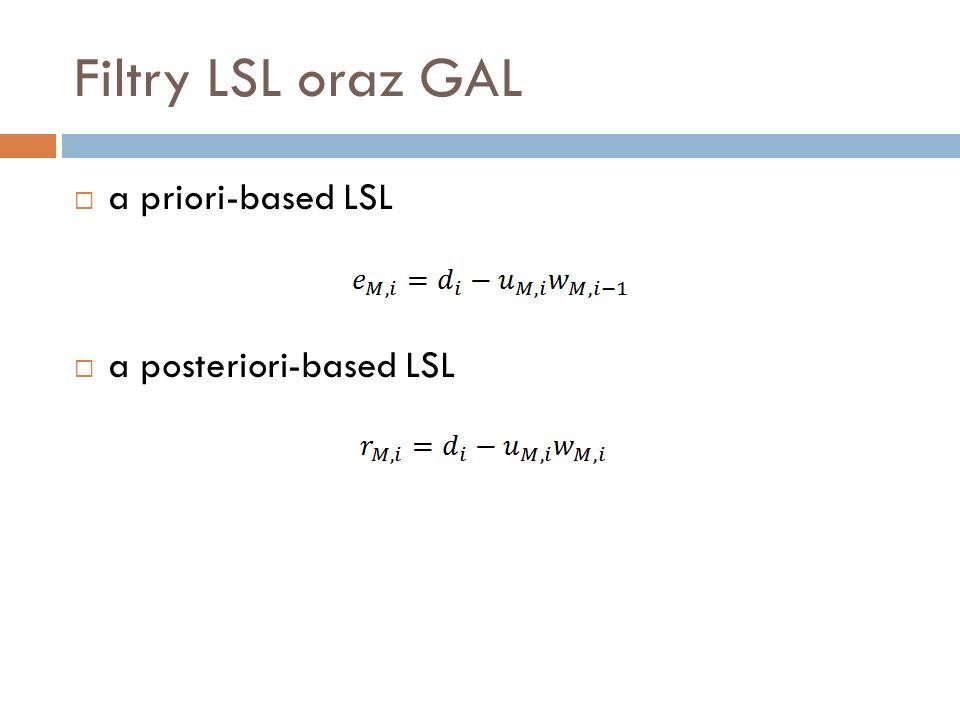 Filtry LSL oraz GAL a priori-based LSL a posteriori-based LSL