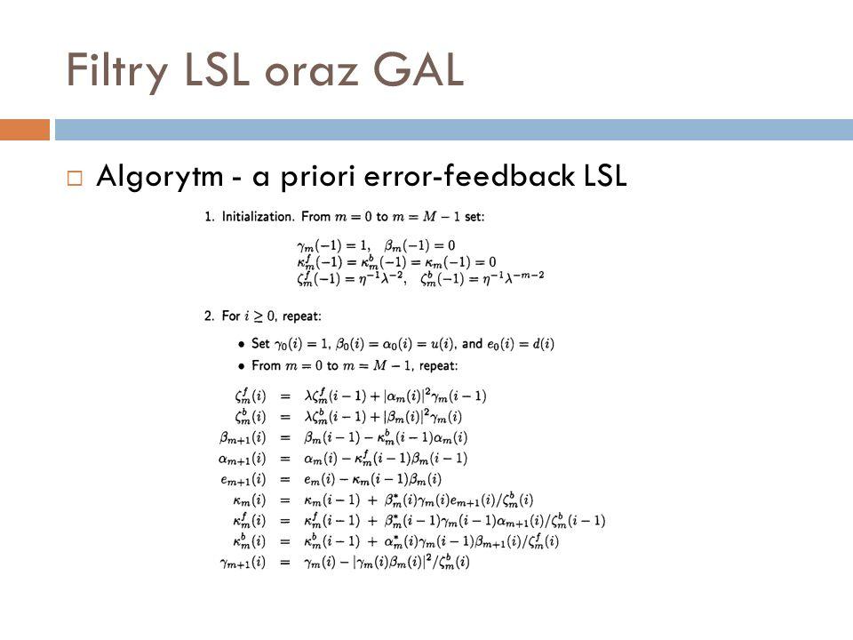 Algorytm - a priori error-feedback LSL