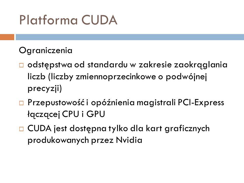 Platforma CUDA Ograniczenia odstępstwa od standardu w zakresie zaokrąglania liczb (liczby zmiennoprzecinkowe o podwójnej precyzji) Przepustowość i opó