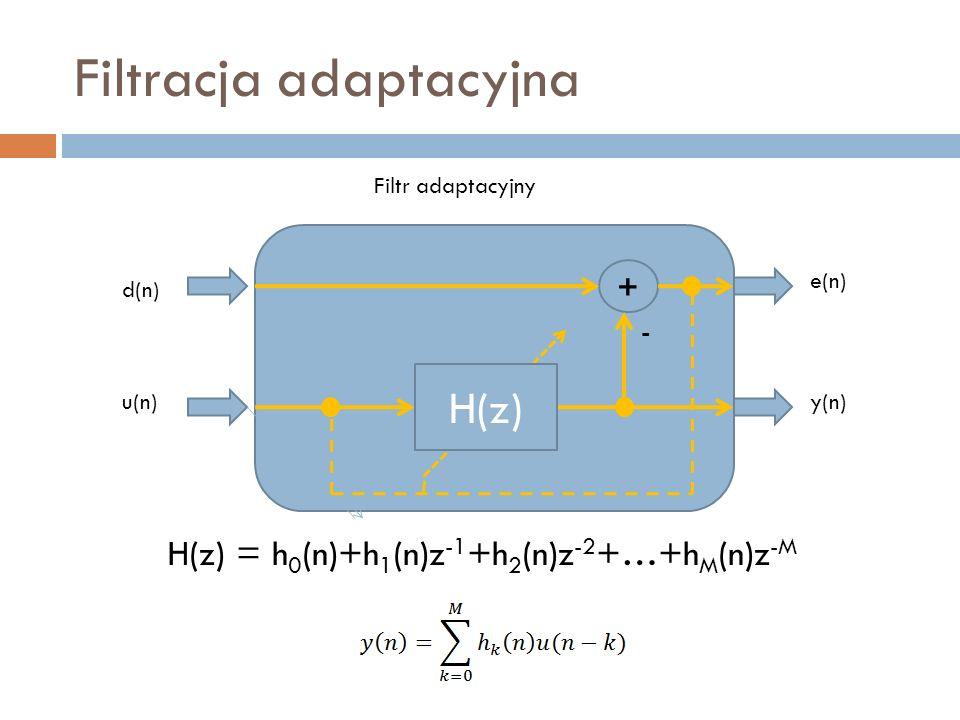 Filtracja adaptacyjna Filtr adaptacyjny d(n) u(n) - H(z) e(n) y(n) + H(z) = h 0 (n)+h 1 (n)z -1 +h 2 (n)z -2 +…+h M (n)z -M