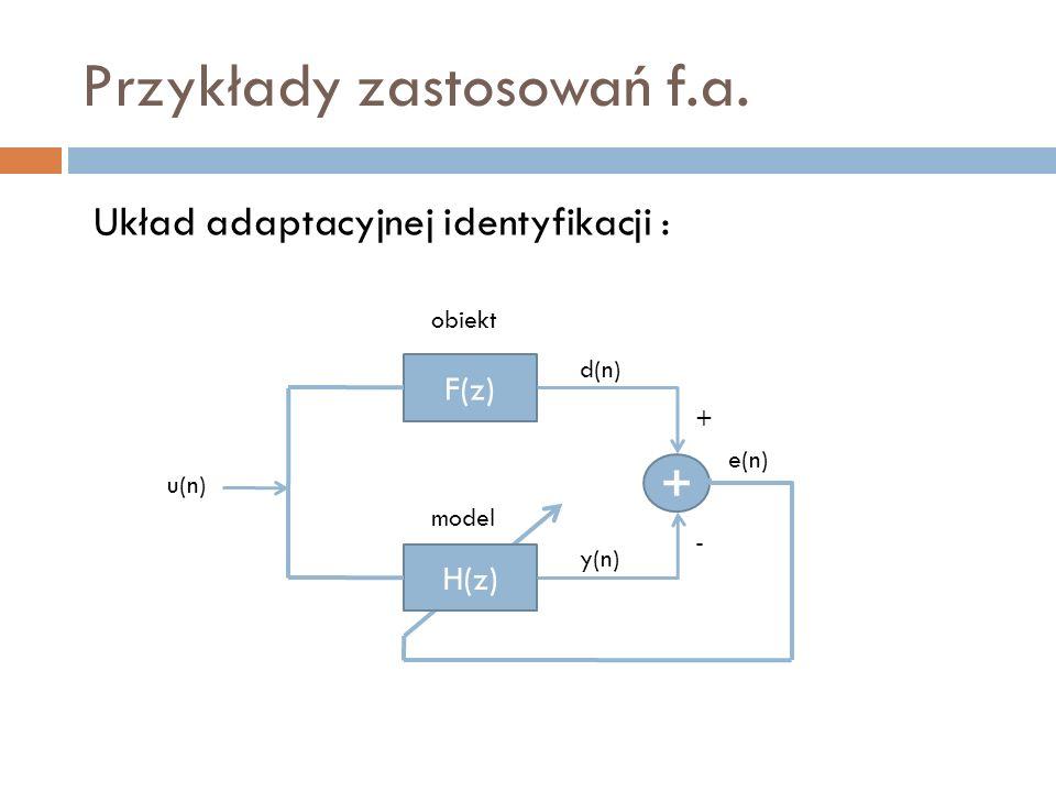 Przykłady zastosowań f.a. F(z) H(z) + obiekt u(n) d(n) e(n) y(n) model Układ adaptacyjnej identyfikacji : - +