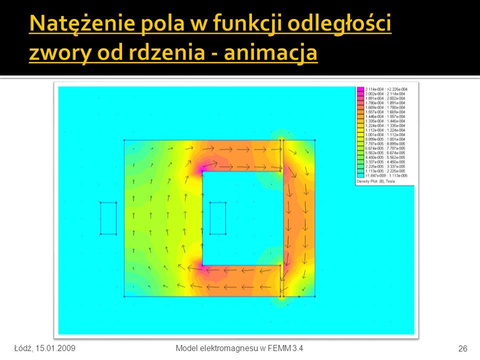 Łódź, 15.01.2009Model elektromagnesu w FEMM 3.4 26