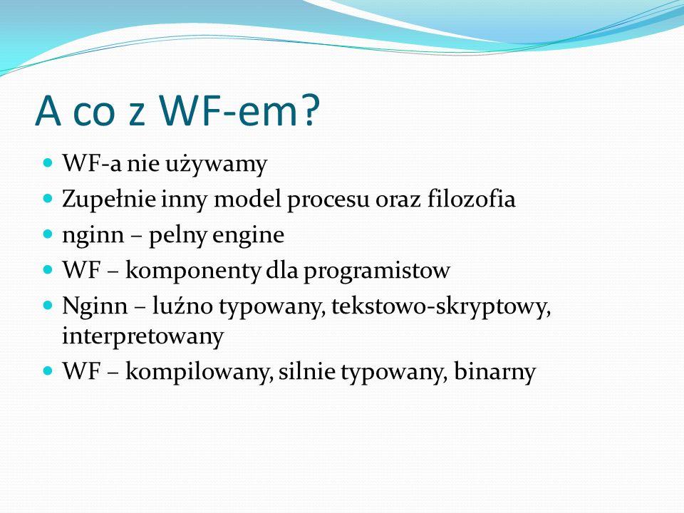 A co z WF-em? WF-a nie używamy Zupełnie inny model procesu oraz filozofia nginn – pelny engine WF – komponenty dla programistow Nginn – luźno typowany