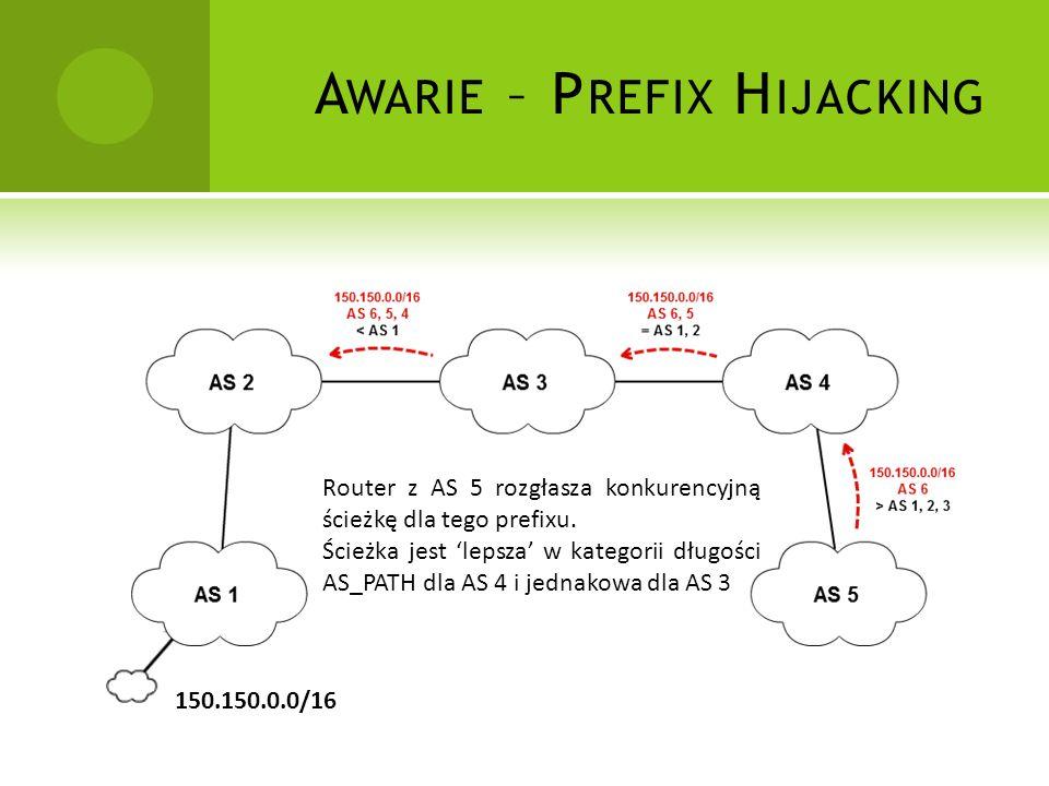 A WARIE – P REFIX H IJACKING 150.150.0.0/16 Router z AS 5 rozgłasza konkurencyjną ścieżkę dla tego prefixu.