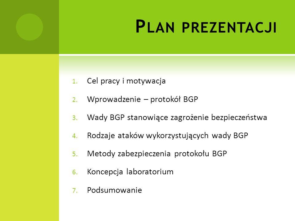 P LAN PREZENTACJI 1.Cel pracy i motywacja 2. Wprowadzenie – protokół BGP 3.