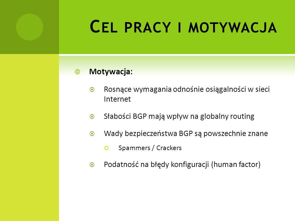 Motywacja: Rosnące wymagania odnośnie osiągalności w sieci Internet Słabości BGP mają wpływ na globalny routing Wady bezpieczeństwa BGP są powszechnie znane Spammers / Crackers Podatność na błędy konfiguracji (human factor) C EL PRACY I MOTYWACJA