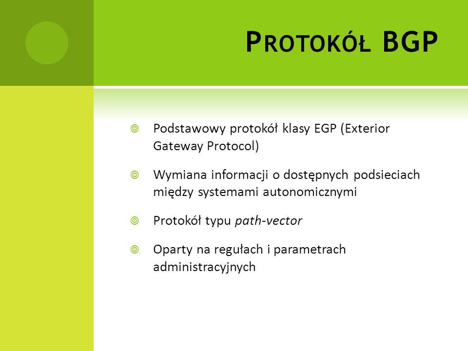 W ADY BGP MOGĄCE POWODOWAĆ ZAGROŻENIE BEZPIECZEŃSTWA Brak pewności czy uczestnicy dialogu BGP rozgłaszają prefixy, których są właścicielami Ingerencja w rozgłoszenia ścieżek i ich atrybuty mająca na celu obalenie polityk routingowych ISP Przesyłanie wiadomości BGP (TCP/IP), jak każda transmisja w publicznej sieci, może być obiektem ataku