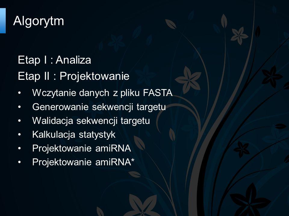 Algorytm Etap I : Analiza Etap II : Projektowanie Wczytanie danych z pliku FASTA Generowanie sekwencji targetu Walidacja sekwencji targetu Kalkulacja statystyk Projektowanie amiRNA Projektowanie amiRNA*