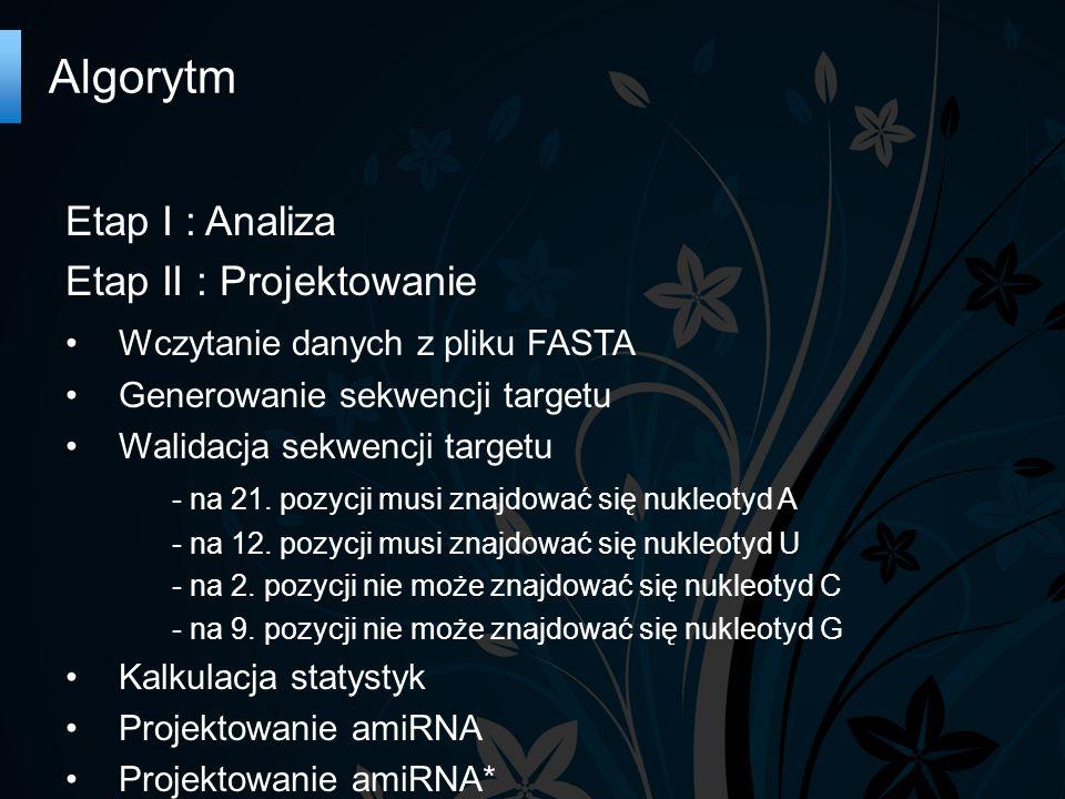 Algorytm Etap I : Analiza Etap II : Projektowanie Wczytanie danych z pliku FASTA Generowanie sekwencji targetu Walidacja sekwencji targetu - na 21.
