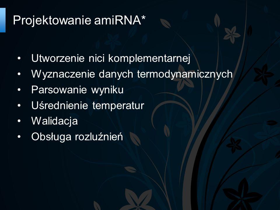 Projektowanie amiRNA* Utworzenie nici komplementarnej Wyznaczenie danych termodynamicznych Parsowanie wyniku Uśrednienie temperatur Walidacja Obsługa rozluźnień