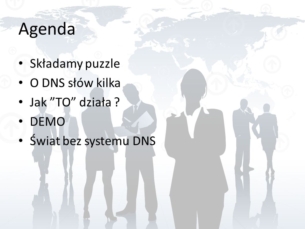 Agenda Składamy puzzle O DNS słów kilka Jak TO działa ? DEMO Świat bez systemu DNS