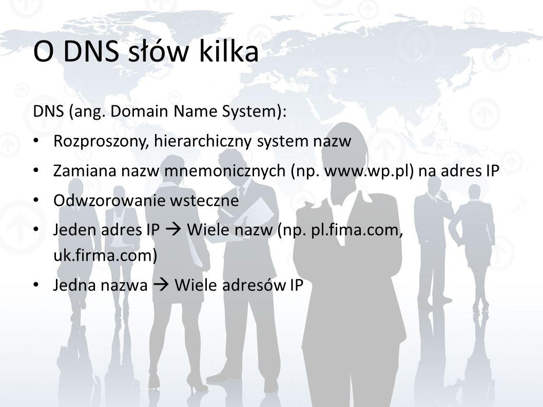 O DNS słów kilka DNS (ang. Domain Name System): Rozproszony, hierarchiczny system nazw Zamiana nazw mnemonicznych (np. www.wp.pl) na adres IP Odwzorow