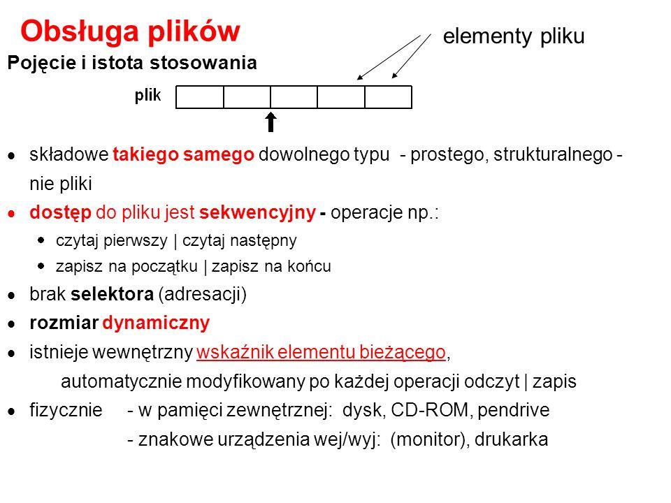 type x=(alfa, beta, gamma, delta) ; {typ wyliczeniowy} var z1,z2,z3,z4 : set of x ; begin z1 := [alfa, beta] ; {lista - wybór podzbioru alfa, beta} z2 := [alfa..gamma] ; {okrojenie - wybór podzbioru alfa, beta, gamma} z3 := [gamma] ; //tylko gamma z4:= [ ]; //zbiór pusty end; Przykład 1: