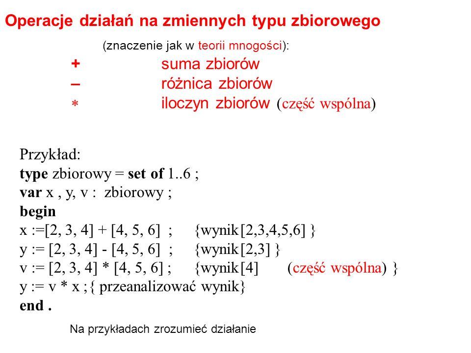 +suma zbiorów –różnica zbiorów iloczyn zbiorów (część wspólna) Przykład: type zbiorowy = set of 1..6 ; var x, y, v : zbiorowy ; begin x :=[2, 3, 4] + [4, 5, 6] ;{wynik[2,3,4,5,6] } y := [2, 3, 4] - [4, 5, 6] ;{wynik[2,3] } v := [2, 3, 4] * [4, 5, 6] ;{wynik[4](część wspólna) } y := v * x ;{ przeanalizować wynik} end.