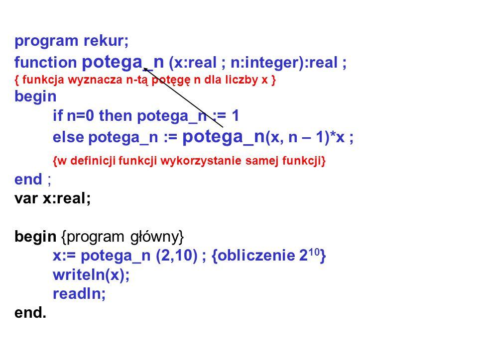 program rekur; function potega_n (x:real ; n:integer):real ; { funkcja wyznacza n-tą potęgę n dla liczby x } begin if n=0 then potega_n := 1 else potega_n := potega_n (x, n – 1)*x ; {w definicji funkcji wykorzystanie samej funkcji} end ; var x:real; begin {program główny} x:= potega_n (2,10) ; {obliczenie 2 10 } writeln(x); readln; end.