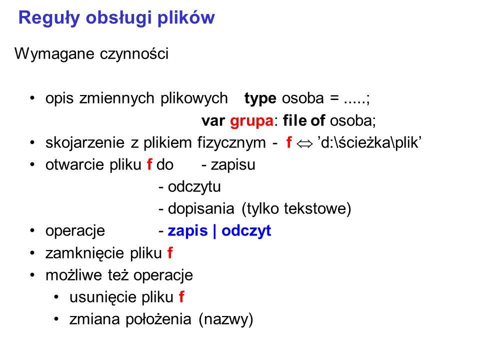 opis zmiennych plikowychtype osoba =.....; var grupa: file of osoba; skojarzenie z plikiem fizycznym - f d:\ścieżka\plik otwarcie pliku f do- zapisu - odczytu - dopisania (tylko tekstowe) operacje- zapis   odczyt zamknięcie pliku f możliwe też operacje usunięcie pliku f zmiana położenia (nazwy) Reguły obsługi plików Wymagane czynności