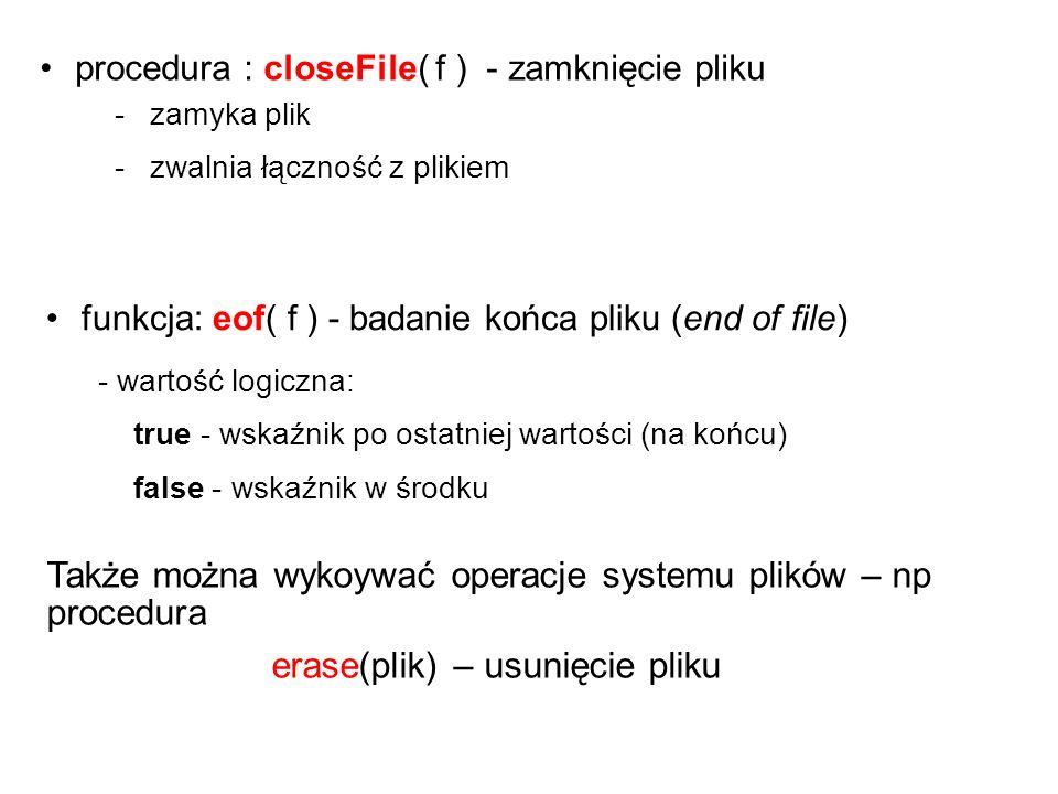 writeln(zmienna_plikowa, lista_elementów); Procedura zapisu do pliku !.