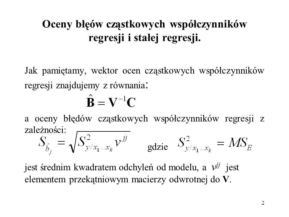 2 Oceny błęów cząstkowych współczynników regresji i stałej regresji. Jak pamiętamy, wektor ocen cząstkowych współczynników regresji znajdujemy z równa