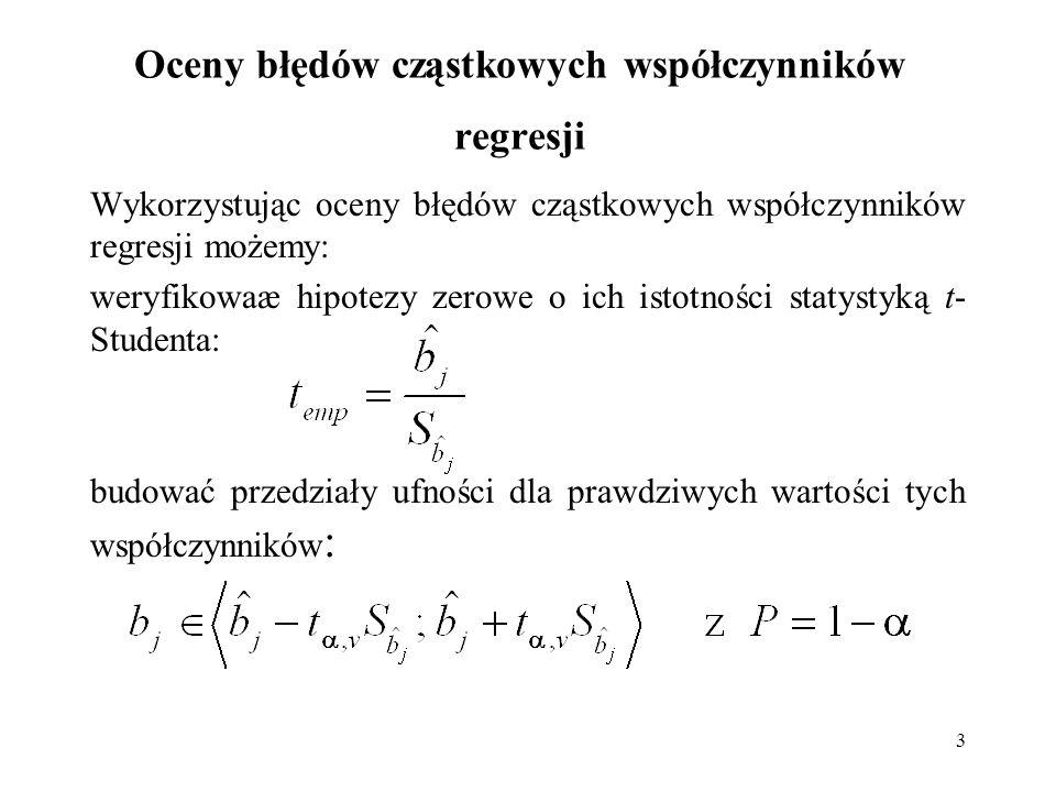 3 Oceny błędów cząstkowych współczynników regresji Wykorzystując oceny błędów cząstkowych współczynników regresji możemy: weryfikowaæ hipotezy zerowe
