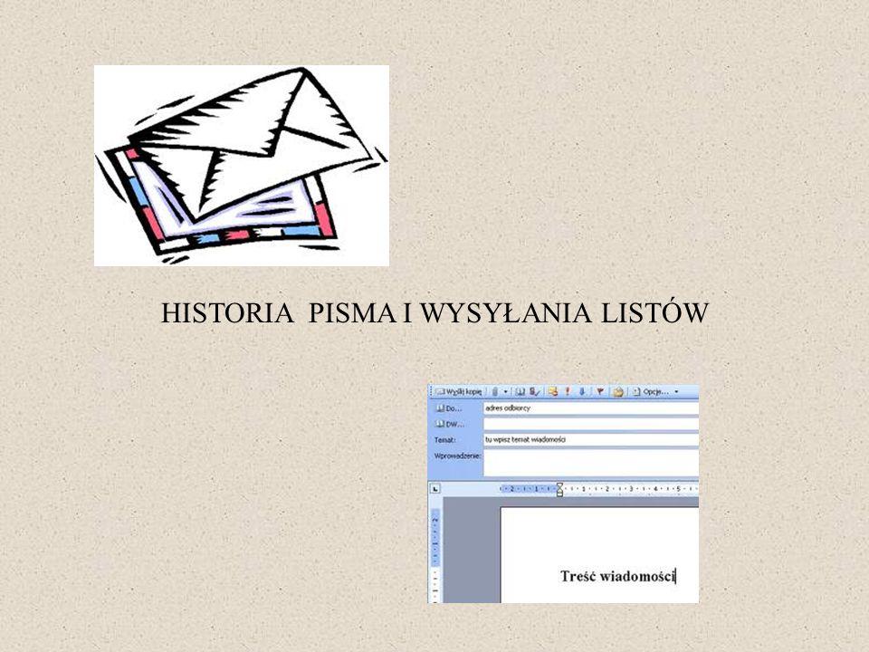 HISTORIA PISMA I WYSYŁANIA LISTÓW