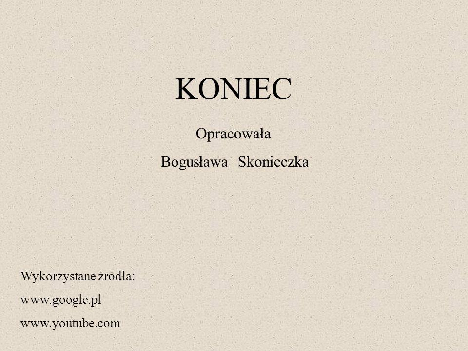 KONIEC Wykorzystane źródła: www.google.pl www.youtube.com Opracowała Bogusława Skonieczka