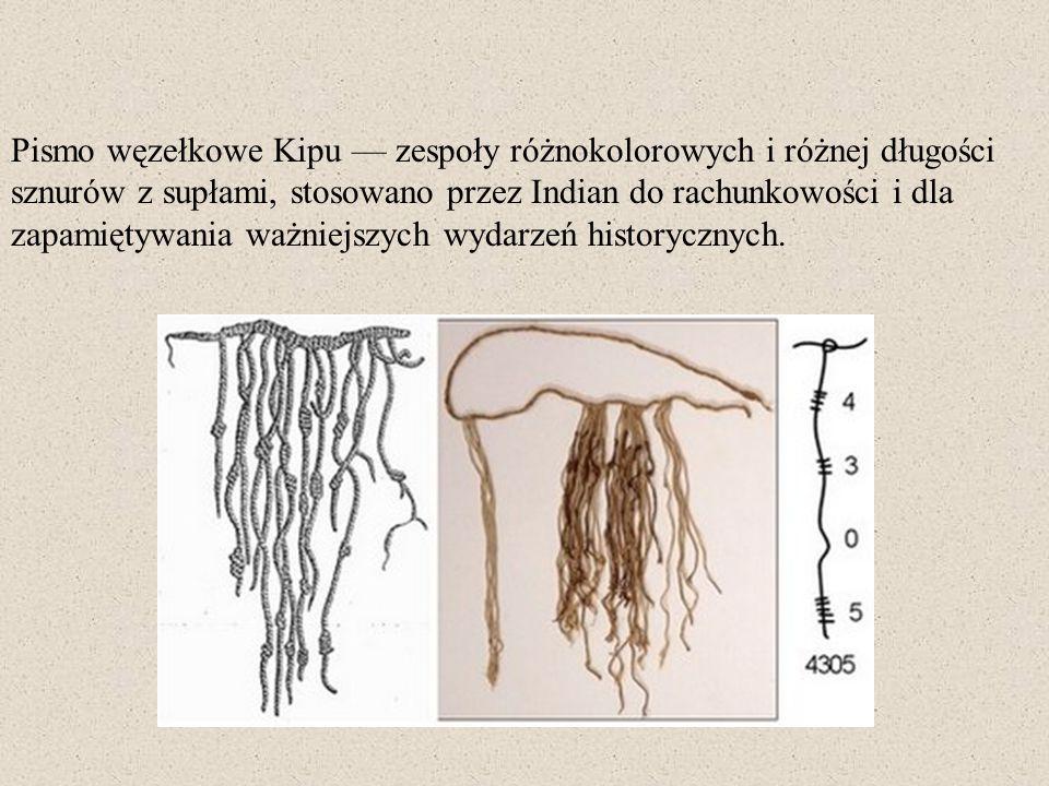 Pismo węzełkowe Kipu zespoły różnokolorowych i różnej długości sznurów z supłami, stosowano przez Indian do rachunkowości i dla zapamiętywania ważniej