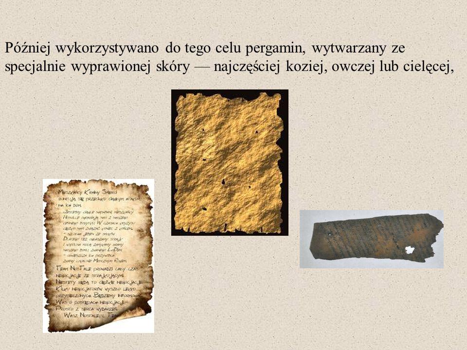 Później wykorzystywano do tego celu pergamin, wytwarzany ze specjalnie wyprawionej skóry najczęściej koziej, owczej lub cielęcej,