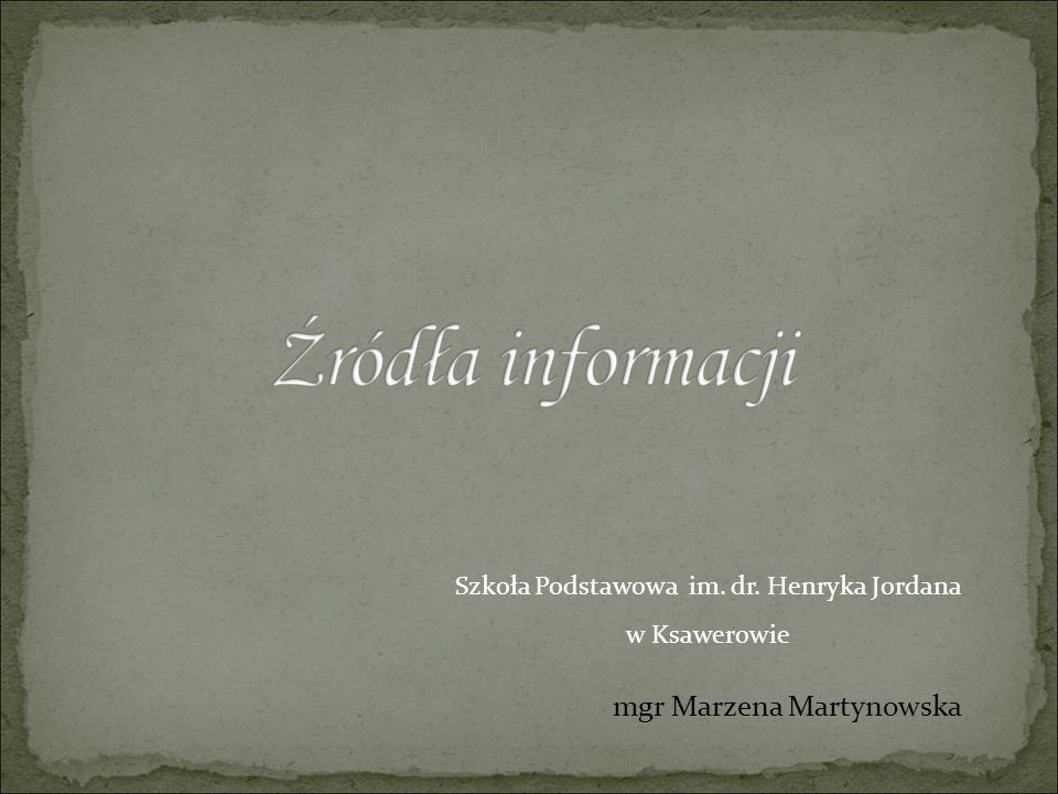 mgr Marzena Martynowska Szkoła Podstawowa im. dr. Henryka Jordana w Ksawerowie
