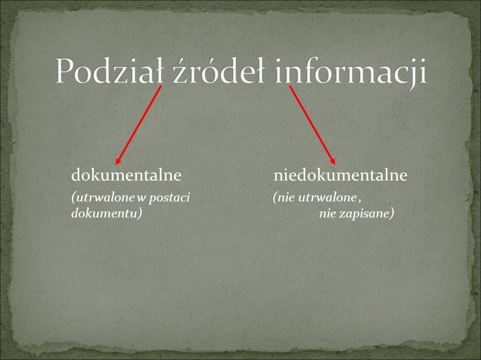 dokumentalne niedokumentalne (utrwalone w postaci (nie utrwalone, dokumentu) nie zapisane)