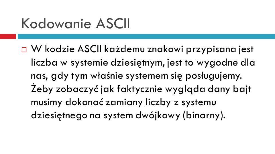 Kodowanie ASCII W kodzie ASCII każdemu znakowi przypisana jest liczba w systemie dziesiętnym, jest to wygodne dla nas, gdy tym właśnie systemem się posługujemy.