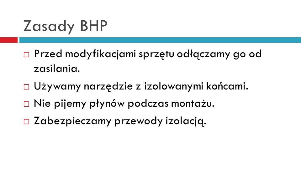 Zasady BHP Przed modyfikacjami sprzętu odłączamy go od zasilania. Używamy narzędzie z izolowanymi końcami. Nie pijemy płynów podczas montażu. Zabezpie