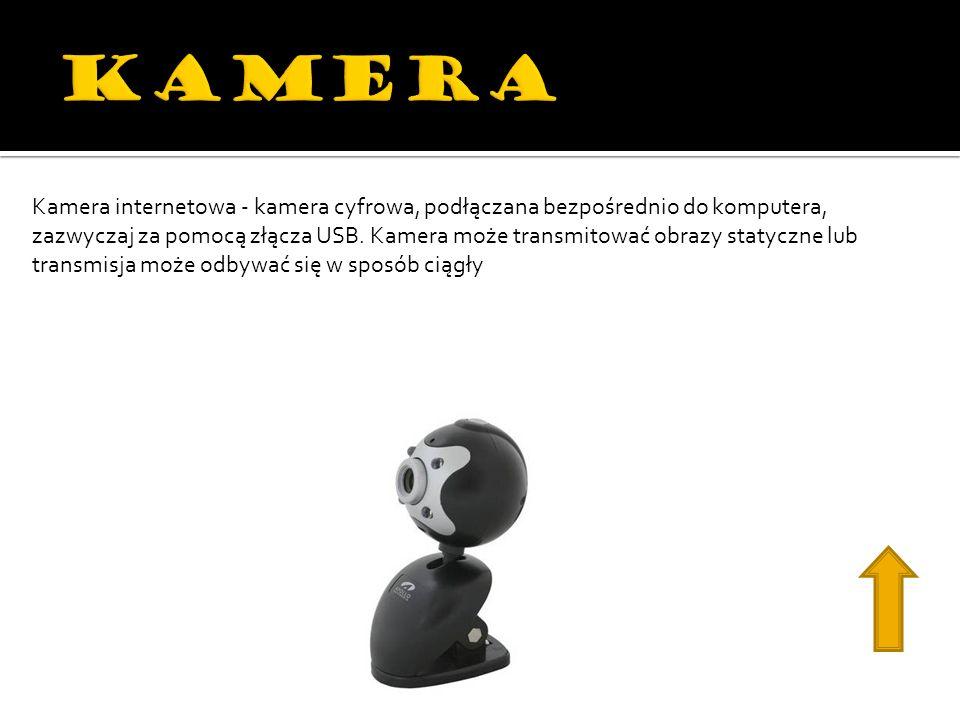 Kamera internetowa - kamera cyfrowa, podłączana bezpośrednio do komputera, zazwyczaj za pomocą złącza USB. Kamera może transmitować obrazy statyczne l