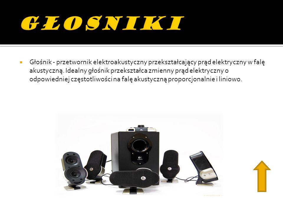 Głośnik - przetwornik elektroakustyczny przekształcający prąd elektryczny w falę akustyczną.