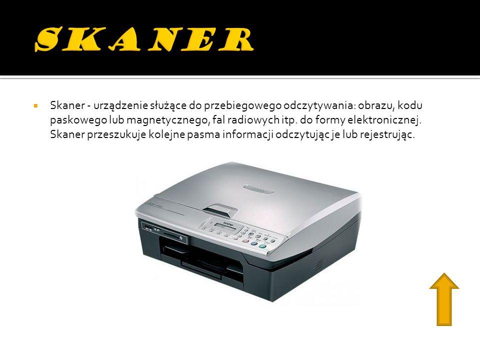 Skaner - urządzenie służące do przebiegowego odczytywania: obrazu, kodu paskowego lub magnetycznego, fal radiowych itp.