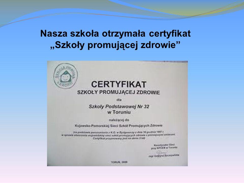 Nasza szkoła otrzymała certyfikat Szkoły promującej zdrowie