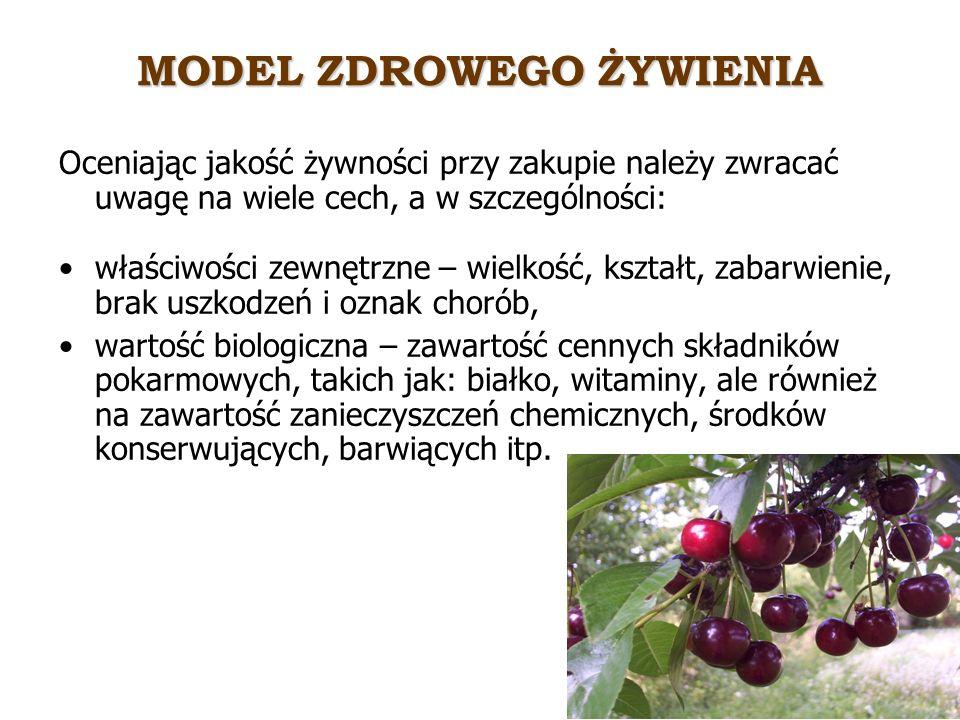 MODEL ZDROWEGO ŻYWIENIA Jakość biologiczna produktów zależy od: warunków środowiskowych (np.