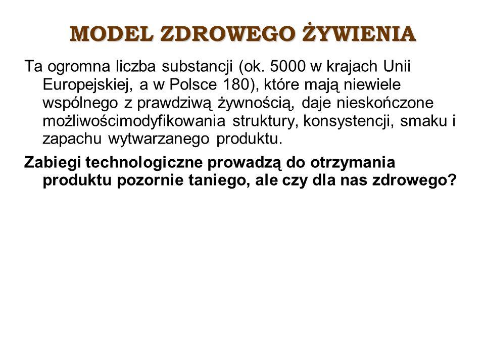 MODEL ZDROWEGO ŻYWIENIA Ta ogromna liczba substancji (ok. 5000 w krajach Unii Europejskiej, a w Polsce 180), które mają niewiele wspólnego z prawdziwą