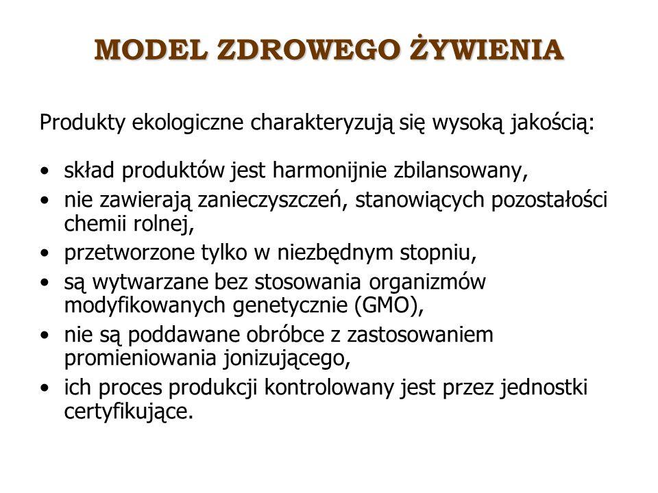 MODEL ZDROWEGO ŻYWIENIA Produkty ekologiczne charakteryzują się wysoką jakością: skład produktów jest harmonijnie zbilansowany, nie zawierają zanieczy