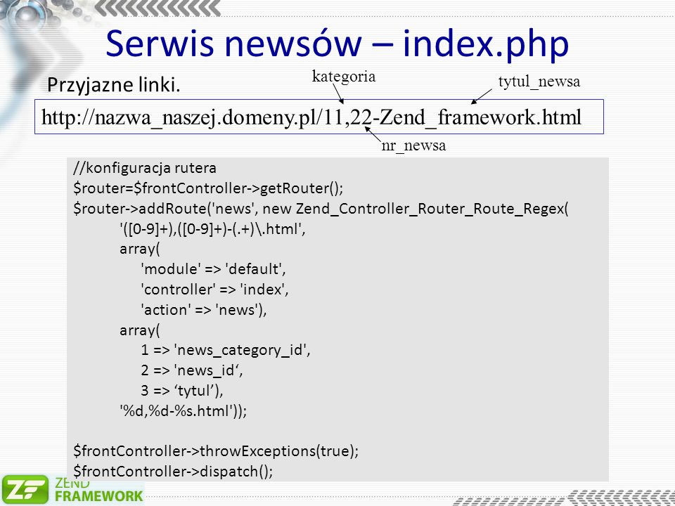 Serwis newsów – index.php //konfiguracja rutera $router=$frontController->getRouter(); $router->addRoute( news , new Zend_Controller_Router_Route_Regex( ([0-9]+),([0-9]+)-(.+)\.html , array( module => default , controller => index , action => news ), array( 1 => news_category_id , 2 => news_id, 3 => tytul), %d,%d-%s.html )); $frontController->throwExceptions(true); $frontController->dispatch(); Przyjazne linki.