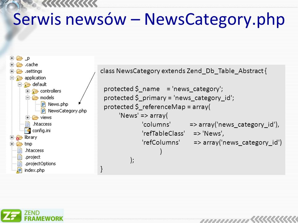 Serwis newsów – NewsCategory.php class NewsCategory extends Zend_Db_Table_Abstract { protected $_name = news_category ; protected $_primary = news_category_id ; protected $_referenceMap = array( News => array( columns => array( news_category_id ), refTableClass => News , refColumns => array( news_category_id ) ) ); }