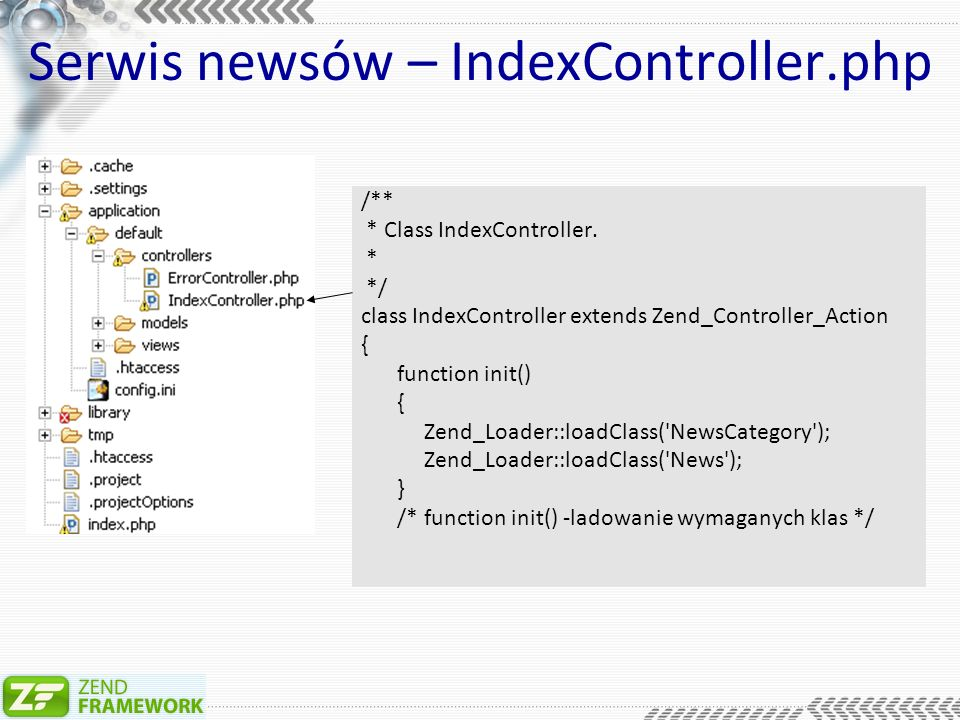 Serwis newsów – IndexController.php /** * Class IndexController.
