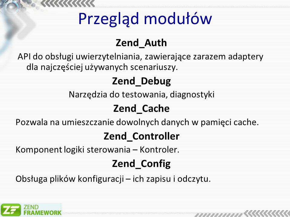 Przegląd modułów Zend_Auth API do obsługi uwierzytelniania, zawierające zarazem adaptery dla najczęściej używanych scenariuszy.