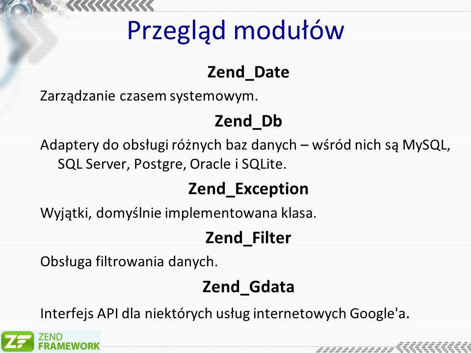 Przegląd modułów Zend_Http Obsługa żądań HTTP.