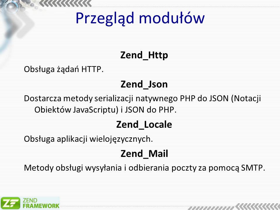 Przegląd modułów Zend_Search_Lucene Phpowa interpretacja rozbudowanego Javowego narzędzia Zend_Session Wszystko co jest związane z sesjami w PHP Zend_Pdf Narzędzia obsługi dokumentów PDF z poziomu PHP.