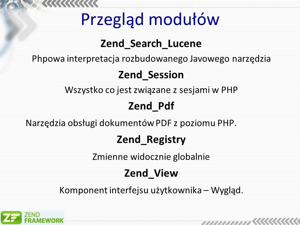 Przegląd modułów Zend_Validate Rozbudowane narzędzia do walidacji adresu mailowego, długości tekstu.